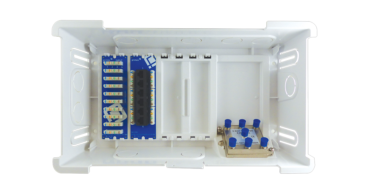 "P/N: 125-1376 - PMX900TP 9"" Enclosure-w/6-port Cat6, 1x9 bridged voice, 1x6 video splitter modules"